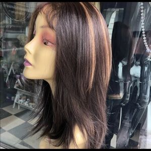 Accessories - Fulllace brown Highlights Wispy Layers Wig 12-14in